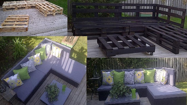 Divano e chaise long fatta di palletmobili con pallet for Divani in pallet
