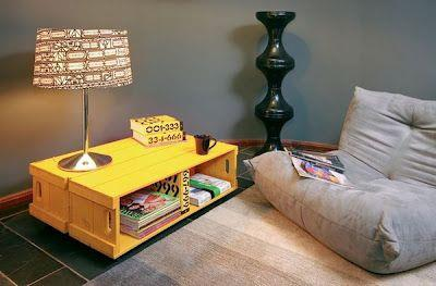 Tavolino realizzato con cassette di frutta