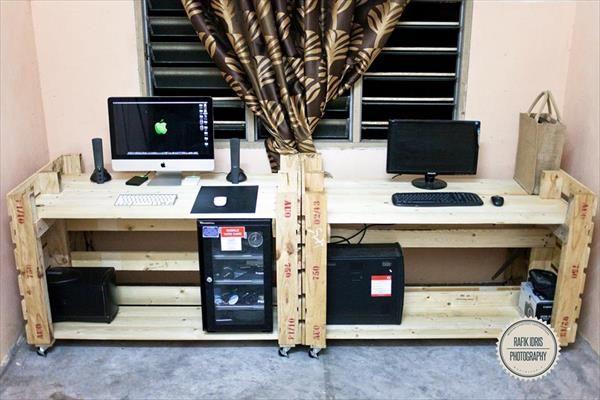incredibile scrivania con 2 palletsmobili con pallet | mobili con ... - Scrivania Con Computer