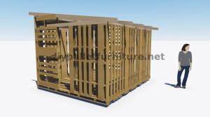 Piani 3D per la costruzione di una cabina o un negozio con pallet 1