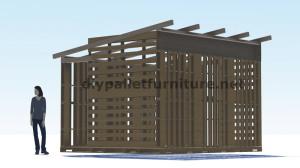 Piani 3D per la costruzione di una cabina o un negozio con pallet 10