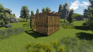 Piani 3D per la costruzione di una cabina o un negozio con pallet 11
