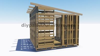 Piani 3d per la costruzione di una cabina o un negozio con for 2 piani di cabina di ceppi di storia
