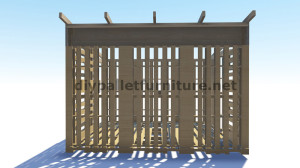 Piani 3D per la costruzione di una cabina o un negozio con pallet 3