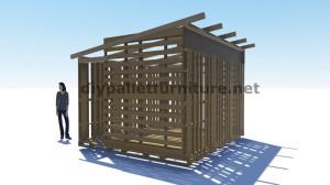 Piani 3D per la costruzione di una cabina o un negozio con pallet 4