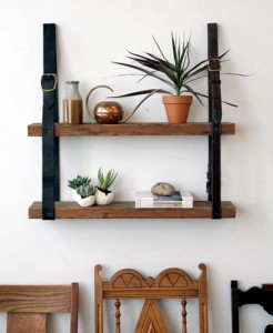 Shelves made with pallet boards and leather belts 2