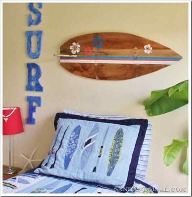 Decora la tua casa con una tavola da surf fatta con i pallet9