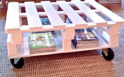 Il tavolo per il salotto realizzato con pallet da Silvia