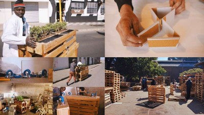 Brothers in benches pallet progetto sociale fatto a Johannesburg