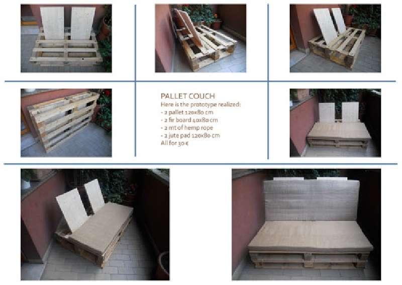 Come realizzare un divano con pallet utilizzando solo punti di appoggiomobili con pallet for Comment fabriquer un salon de jardin en bois