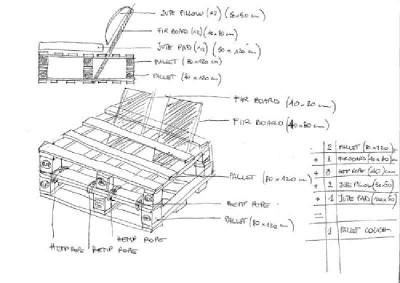 Comment faire un canapé avec des palettes en utilisant des points d'appui seulement2