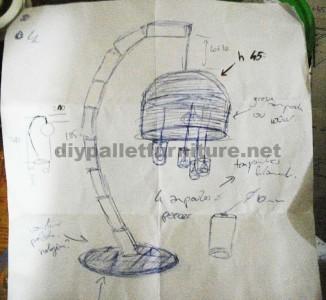 Struttura della lampada costruita utilizzando schede di pallet5
