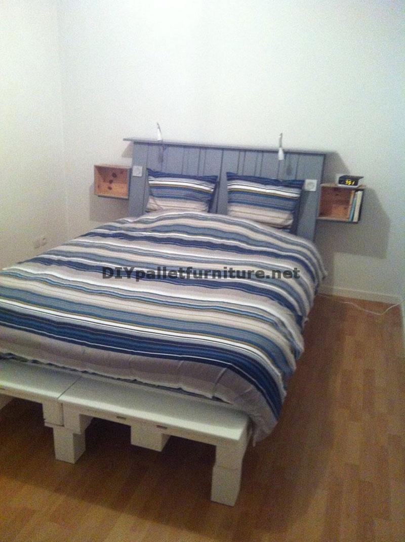 Fantastico letto con testiera costruito con 6 europalletmobili con pallet mobili con pallet - Testiera letto pallet ...