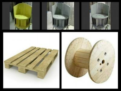 Poltrona costruito con una bobina cavo di legno e 2 pallets 2