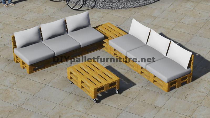 Progettazione di divano ad angolo con tavolo costruito con palletmobili con pallet mobili con - Divano con pallet ...