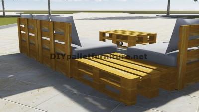 Progettazione di divano ad angolo con tavolo costruito con pallet 3