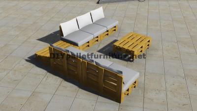 Progettazione di divano ad angolo con tavolo costruito con pallet 4