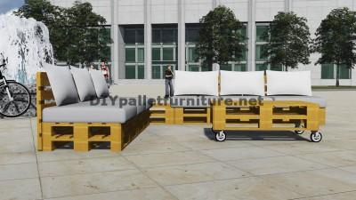 Progettazione di divano ad angolo con tavolo costruito con pallet 5