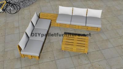 Progettazione di divano ad angolo con tavolo costruito con pallet 6