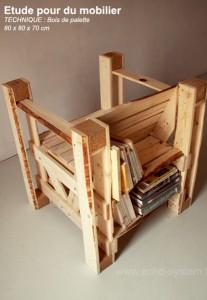 Design interessante 2 in 1 di una sedia e libreria con pallet 1