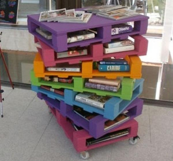 Scaffali colorati e originali con palletmobili con pallet - Pomelli colorati per mobili ...
