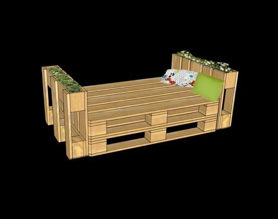 Eccezionale 3D progetti di fornire un ufficio con palletMobili con Pallet  HS91