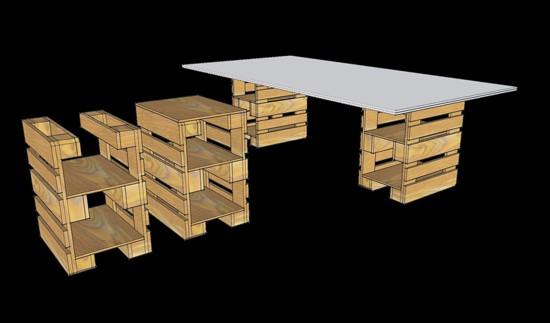 3D progetti di fornire un ufficio con pallet 9