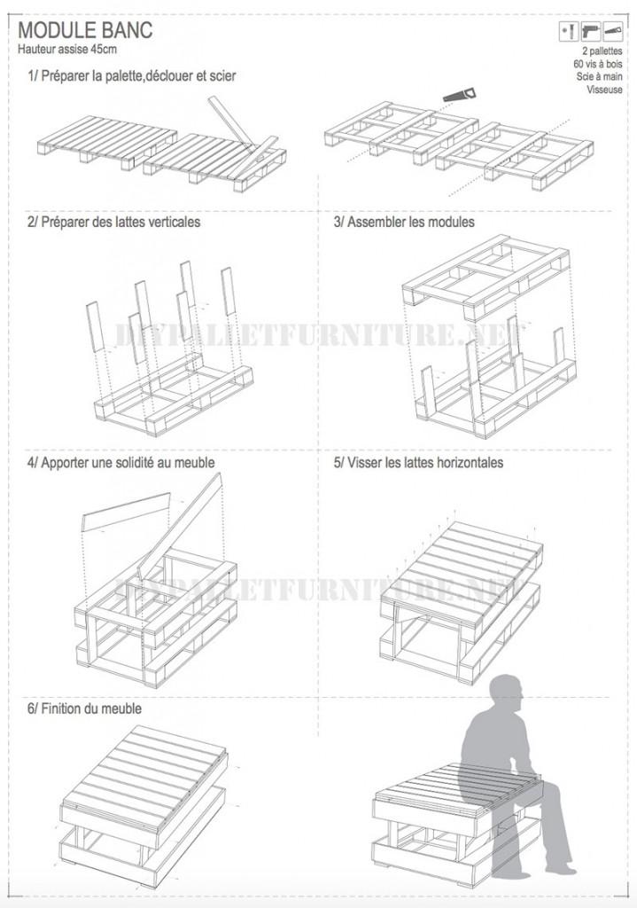 I piani per costruire panchine pallet modulari 3