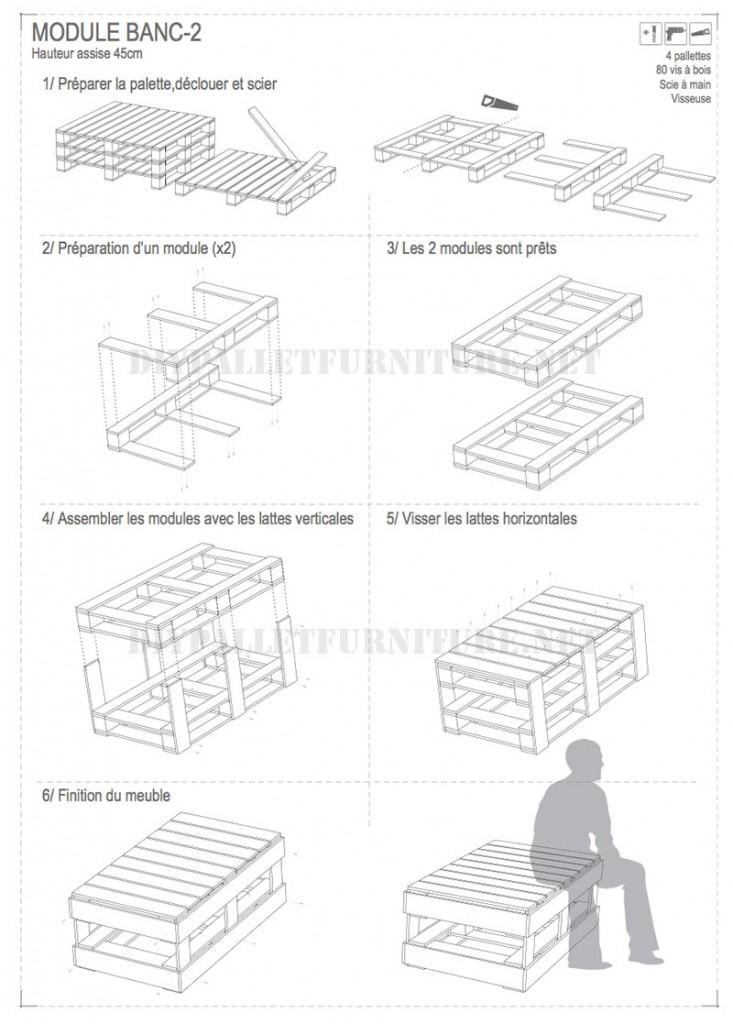 I piani per costruire panchine pallet modulari 4