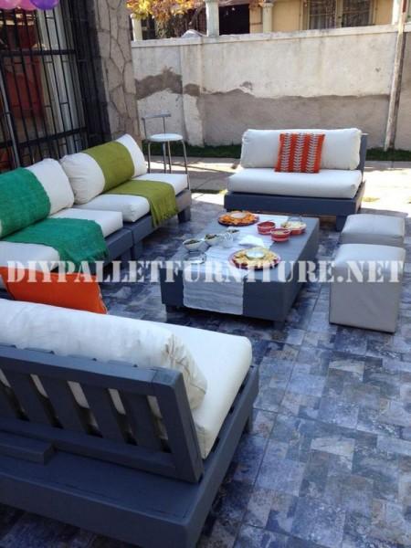 Mobili set con pallet per il terrazzo 7