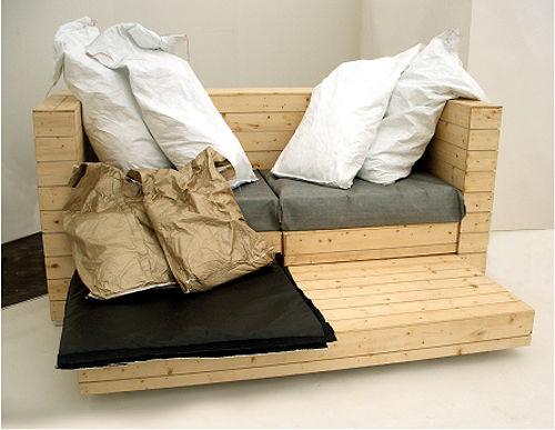 Divano, letto e scrivania, 3 pezzi di mobili in 1 1