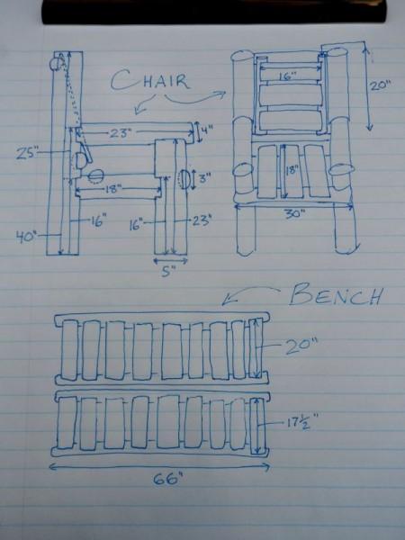 Panca costruita con tronchi e pallets 2