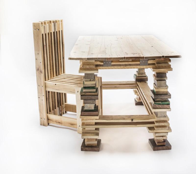 scrivania e sedia design con palletmobili con pallet