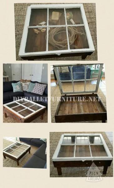 tavolo con pallet mobili con pallet : Tavolo costruito con pallet e una finestraMobili con Pallet Mobili ...