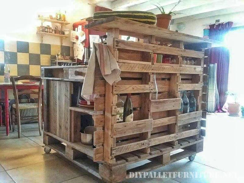 Isola cucina fatta con palletmobili con pallet mobili for Costruire isola cucina