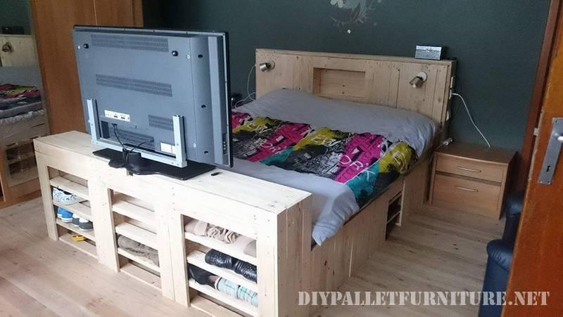 Letto e scarpe cabinet realizzato con pallet 1