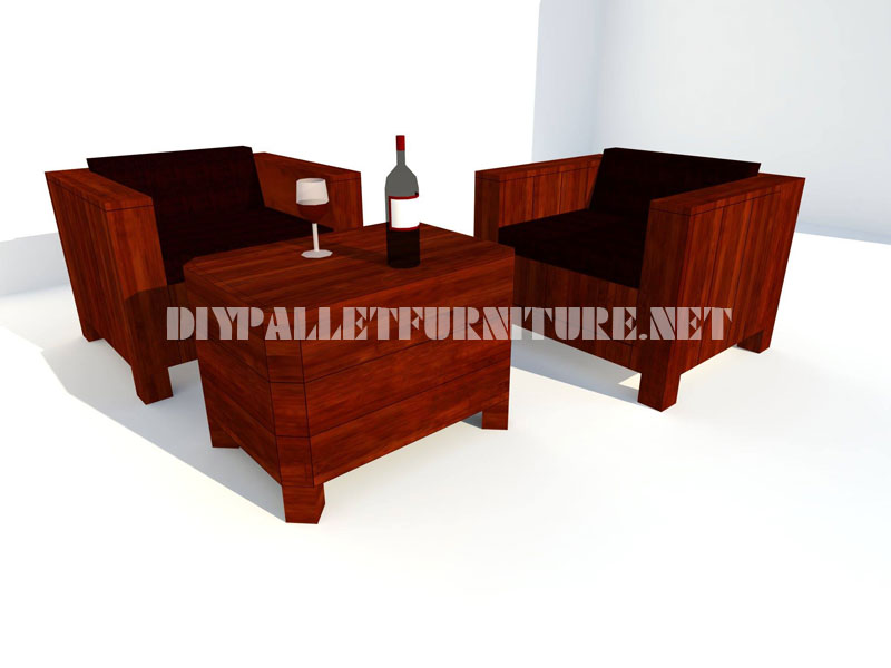 Poltrone e tavolino-tronco con pallet 3