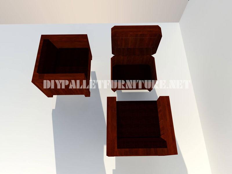Poltrone e tavolino-tronco con pallet 4