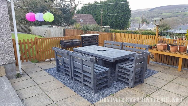 Pallet giardino set da pranzo 1