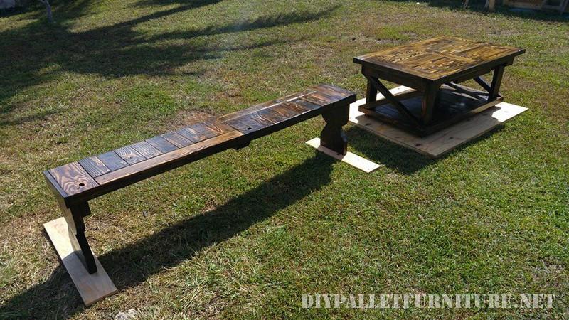 Pallet tavola e pancamobili con pallet mobili con pallet for Panca pallets