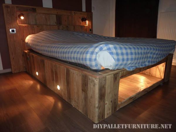 Letto realizzato con tavole pallet e un materasso 6