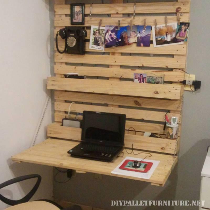 pieghevole scrivania parete con palletmobili con pallet