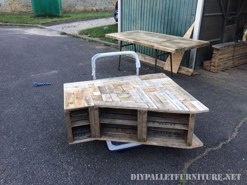 Mobili per il salotto realizzato con cassette di frutta e tavole pallet 2