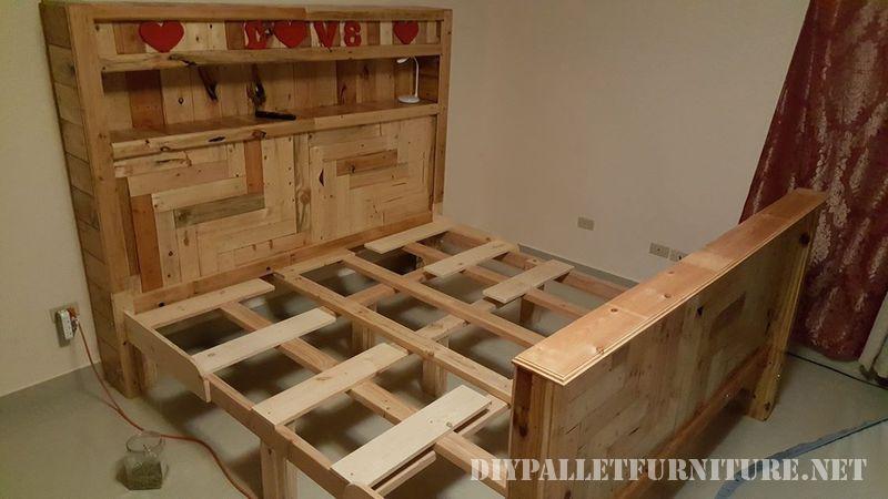 Romantico letto realizzato con pallet 4