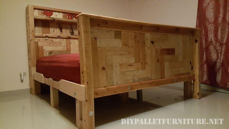 Romantico letto realizzato con pallet 5