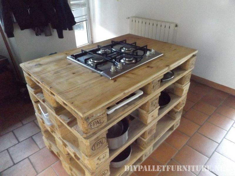 Controsoffitto della cucina con una stufa fatta di palletMobili con Pallet  Mobili con Pallet