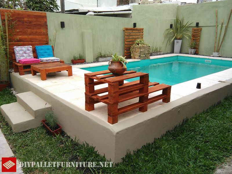 piscina attrezzata con palletmobili con pallet mobili con pallet. Black Bedroom Furniture Sets. Home Design Ideas