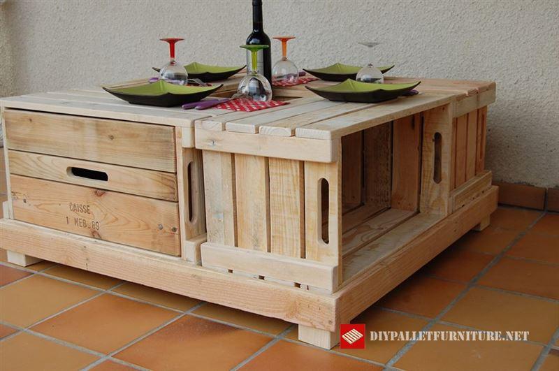 Tavolo basso con scatole di legnomobili con pallet mobili con pallet - Tavolo con cassette di legno ...